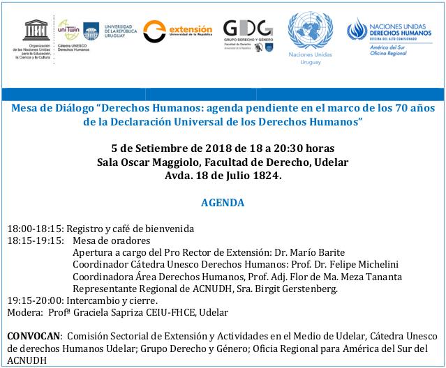 """Mesa de Diálogo """"Derechos Humanos: agenda pendiente en el marco de ..."""